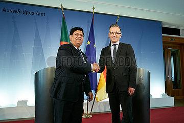Berlin  Deutschland - Abul Kalam Abdul Momen  bangladeschischer Aussenminister und Bundesaussenminister Heiko Maas.