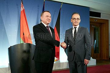 Berlin  Deutschland - Wladimir Makej und Heiko Maas  Aussenminister von Weissrussland und Deutschland bei einer Pressekonferenz.