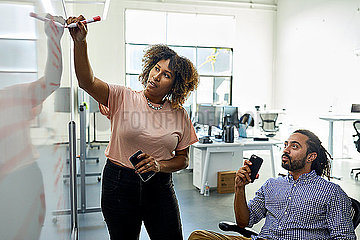 Businesswoman explaining to male colleague in meeting at office