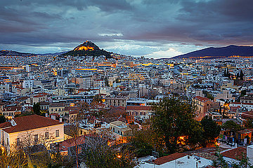 View of Lycabettus hill from Anafiotika neighborhood  Athens.