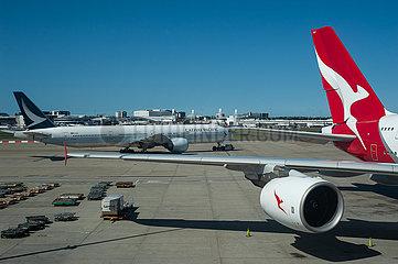 Sydney  Australien  Qantas Airbus A380-800 Flugzeug auf dem Flughafen Kingsford Smith