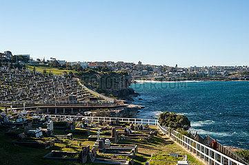Sydney  Australien  Blick ueber den Waverley Cemetery Friedhof zwischen Bronte und Clovelly