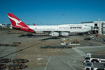 Sydney  Australien  Qantas Boeing 747 Jumbo-Jet auf dem Flughafen Kingsford Smith