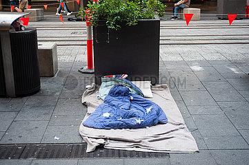 Sydney  Australien  Obdachlosenschlafplatz in der Innenstadt