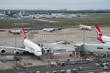 Sydney  Australien  Qantas Airways Flugzeuge auf dem Flughafen Kingsford Smith