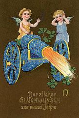 Engelchen zuenden Kanone  Silvester  alte Neujahrskarte  1908