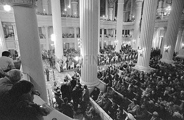 Friedensgebet in der Leipziger Nikolaikirche  Dezember 1989