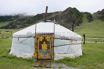 Tuer eine Jurte in der Mongolei
