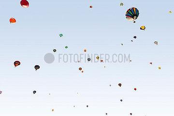 Heißluftballons von unten