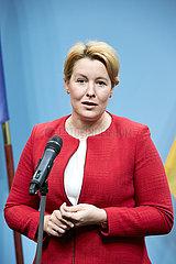 Berlin  Deutschland - Dr. Franziska Giffey bei einem Pressestatement.