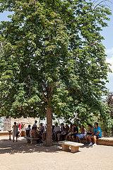 Touristen im Schatten eines Baumes an der Alhambra in Granada