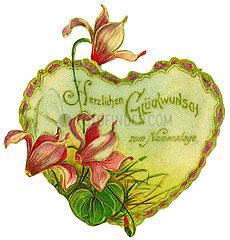 Herzlichen Glueckwunsch zum Namenstag  Poesiebild  1910