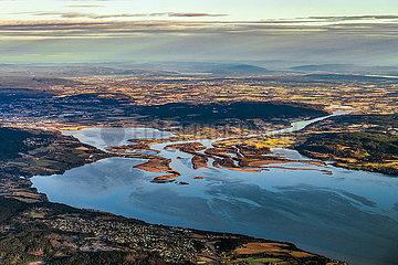 Luftaufnahme der Lanschaft südlich von Oslo