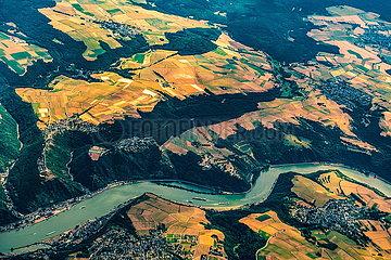 Luftaufnahme Rhein und Loreley