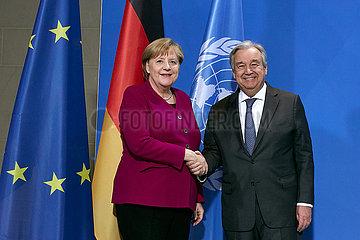 Berlin  Deutschland - UN-Generalsekretaer Antonio Guterres und Bundeskanzlerin Angela Merkel.