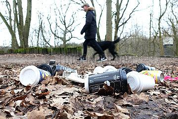 Berlin  Deutschland  leere Kaffeebecher liegen im Wald