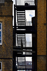 Outdoor staircase on apartment block