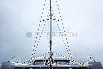 Front view of a cruising catamaran