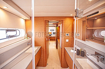 View from the shower in the starboard hull in the Catamaran cruising