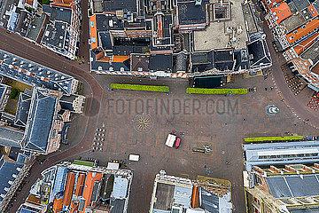 Aerial view of residential buildings in Haarlem city