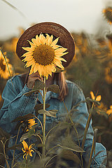 Young woman behind a sunflower