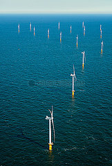 Offshore wind farm in the Borselle windfield  aerial view  Domburg  Zeeland  Netherlands