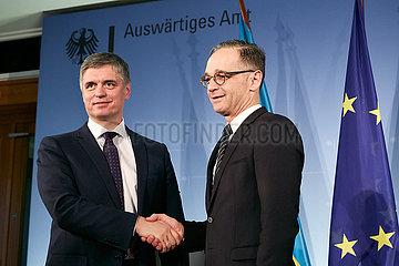 Berlin  Deutschland - Wadym Wolodymyrowytsch Prystajko  Aussenminister der Republik Ukraine nach der Pressekonferenz.