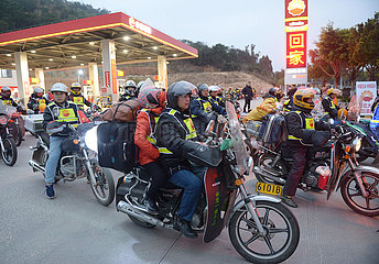 CHINA-FUJIAN-SPRING FESTIVAL-TRAVEL RUSH-MOTORBIKE FLEETS (CN)