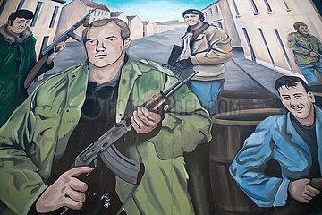 Grossbritannien  Belfast - protestantisches Wandbild  Shankill Road  protestantischer Teil von West Belfast