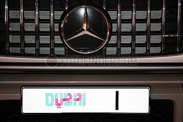 Dubai  Vereinige Arabische Emirate  Nummernschild an einem PKW
