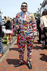 Melbourne  Man in a funny suit at the racecourse