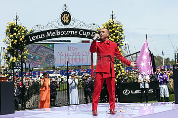 Melbourne  Australian Idol runner-up Anthony Callea sings the national anthem before the Melbourne Cup