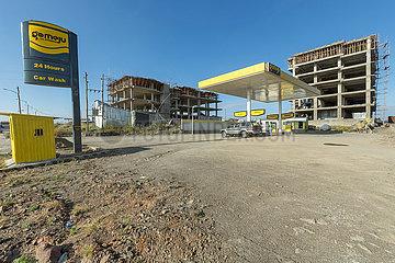 Addis Abeba  Aethiopien - Bauboom  Tankstelle
