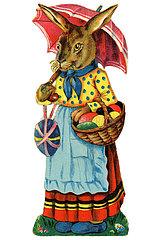 weiblicher Osterhase bringt Ostereier  Poesiebild  1910