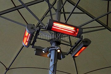 Heizstrahler an einem Straßencafe | radiant heater at a street cafe