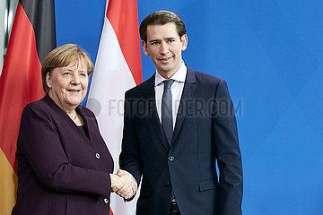 Berlin  Deutschland - Bundeskanzlerin Angela Merkel und Sebastian Kurz  Bundeskanzler der Republik Oesterreich.