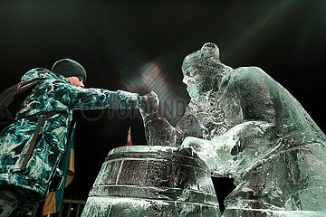 LATVIA-JELGAVA-ICE SCULPTURE FESTIVAL