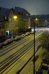 Deutschland  Bremen - Schneefall im Altbaubezirk Oestliche Vorstadt