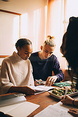 Teenage boy and girls studying together over project at table in home