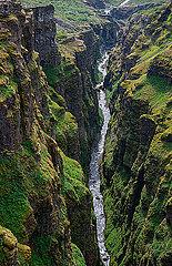 Deep canyon below Glymur waterfall  Hvalfjordur  Iceland