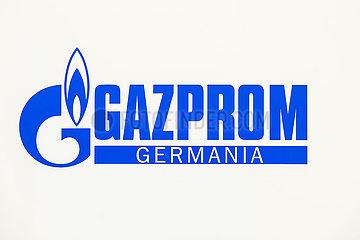 Gazprom  Logo am Messestand auf der Messe E-world energy & water  Essen  Nordrhein-Westfalen  Deutschland  Europa