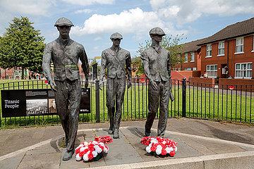 Grossbritannien  Belfast - Denkmal Titanic Yardmen am Dr Pitt Memorial Park  Protestantischer Teil von East Belfast