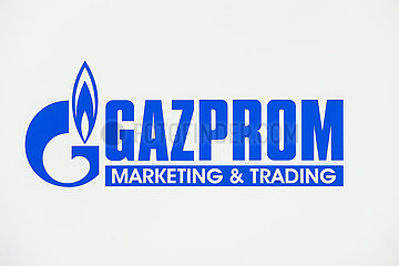 Gazprom  Logo am Messestand auf der Messe E-world energy & water  Essen  Nordrhein-Westfalen  Deutschland  Europa