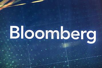 Bloomberg  Logo am Messestand auf der Messe E-world energy & water  Essen  Nordrhein-Westfalen  Deutschland  Europa
