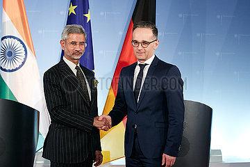 Berlin  Deutschland - Subrahmanyam Jaishankar und Heiko Maas  Aussenminister Indiens und Deutschlands.