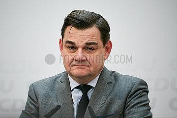Berlin  Deutschland - Marcus Weinberg bei einer Pressekonferenz in der CDU-Bundesgeschaeftsstelle.