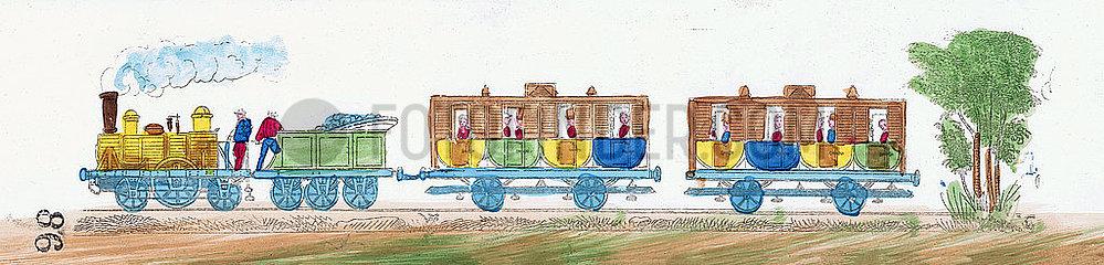 Anfaenge der franzoesischen Eisenbahn  Personenzug  Illustration  1849