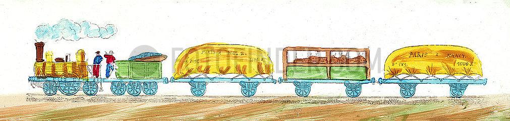 Anfaenge der franzoesischen Eisenbahn  Gueterzug  Illustration  1849