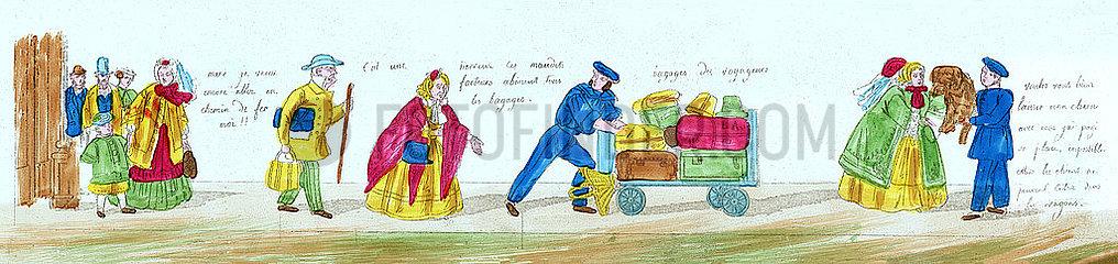 Anfaenge der franzoesischen Eisenbahn  Reisende am Bahnsteig  Illustration  1850