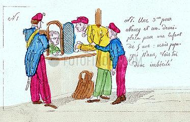 Anfaenge der franzoesischen Eisenbahn  Reisende am Fahrkartenschalter  Illustration  1850